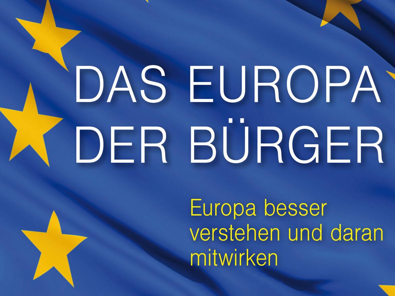 Die Überschrift auf der EU-Fahne