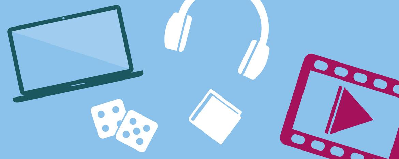 Die Illustration symbolisiert die verschiedenen Inhalte der Linksammlung. Sie zeigt einen Laptop, zwei Würfel als Symbol für Spiele, einen Kopfhörer, eine Mappe und ein Symbol für einen Videoplayer.