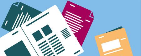 Vier Handreichungen, die versetzt zueinander liegen  - Link auf: Handreichungen, Dokumentationen