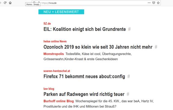 Der Screenshot zeigt die Startseite von rivva.de, wo viele Nachrichten zusammenlaufen und angezeigt werden.