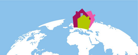 Illustration: ein Dorf auf einem Globus  - Link auf: Beispielhaft: Kommunen lokal und global