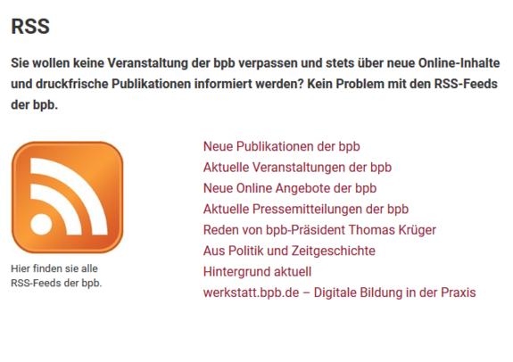 Der Screenshot zeigt eine Abbildung der Seite, auf der sich der RSS-Feed der Bundeszentrale für Politische Bildung abonnieren lässt.