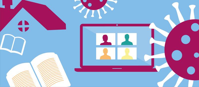 Grafik: Buch, Haus, Laptop und Abbildung vom Virus