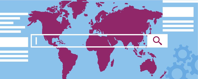 Grafik Newsroom mit Weltkarte und Suchleiste