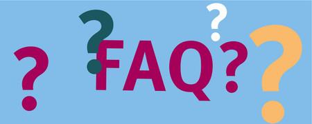 Abkürzung FAQ neben Fragezeichen  - Link auf: FAQ - Häufig gestellte Fragen