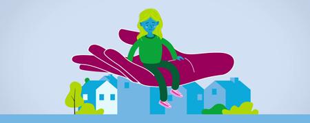 Illustration: Kind sitzt auf einer Hand  - Link auf: Armut: Kinder stark machen