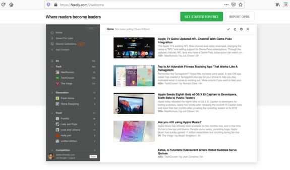 Das Bild zeigt die Startseite mit dem Dashbord von Feedly, einem Feed-Reader, mit dem sich Quellen zusammensuchen lassen.
