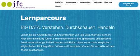 Screenshot der Internetseite Lernparcours Big Data, bigdata.jfc.info/lernparcours.html  - Link auf: Lernparcours Big Data