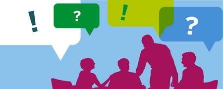 Illustration: Vier diskutierende Personen  - Link auf: Die Rollen – oder: Wer will was?