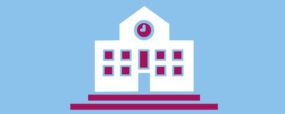 Grafik mit Symbol für eine Schule