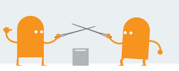 Grafik mit zwei Figuren, die mit Stichwaffen kämpfen