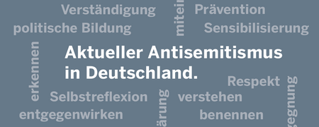 Wortwolke aus verschiedenen Begriffen.  - Link auf: Aktueller Antisemitismus in Deutschland