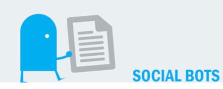 """Piktogramm und Aufschrift """"Social Bots""""  - Link auf: Social Bots"""