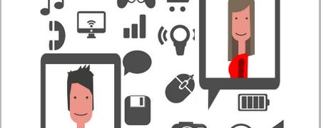 Illustration von zwei lächelnden Gesichtern in zwei Tablet-PCs  - Link auf: Der kleine Datentest