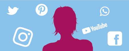 Grafische Darstellung einer Person umgeben von Symbolen für soziale Medien  - Link auf: Sandra: Die Spaßorientierte