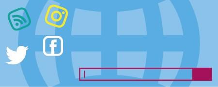 Das Bild zeigt die Logos unterschiedlicher Webangebote wie Twitter oder Facebook und dazu eine Suchleiste. Es symbolisiert, dass es zunehmend schwieriger wird, den Informationsfluss im Netz ohne Hilfsmittel im Blick zu behalten.  - Link auf: Feed-Reader: So werden Sie zum CvD Ihrer Medienwelt