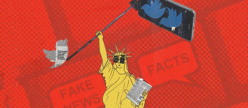 Freiheitsstatue mit Augenklappen und mit einer Zeitung und mit einem Smartphone in den Händen