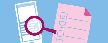 Lupe und Checkliste  - Link auf: App-Check: Worauf muss ich achten?
