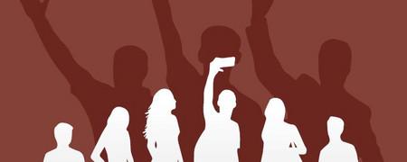 Grafik zeigt Umrisse junger Menschen. Die Person in der Mitte hält ein Smartphone in der Hand. Im Hintergrund sind drei Personen angedeutet, die der rechtsextremen Szene angehören.  - Link auf: Präventionstage gegen Rechtsextremismus