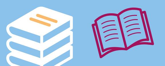 Grafik mit Symbolen für Bücher und Zeitschriften
