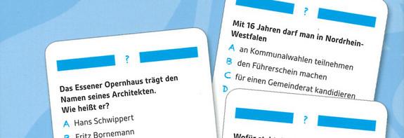 Grafik NRW-Quiz mit Karten und Ausschnitten von Fragen