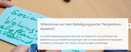"""Ausschnitt der Projektseite """"Perspektiven Bielefeld""""  - Link auf: Perspektiven Bielefeld – Konversion Bielefeld (Bielefeld)"""