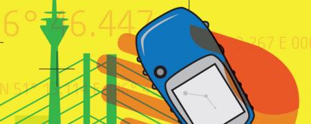 Hand mit GPS-Gerät vor einer Skyline und Koordinaten  - Link auf: Landtagsgeschichte(n)