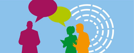 Illustration: drei diskutierende Personen sowie symbolische Darstellung der Sitzreihen in einem Parlament  - Link auf: Fairplay: Kooperation in der Praxis