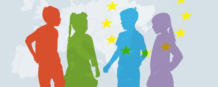 Bunte Silhoutten von Menschen vor einer vereinfachten Europakarte.  - Link auf: Europateam NRW