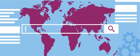 Eine Weltkarte mit Suchleiste  - Link auf: Über den Newsroom 4.0