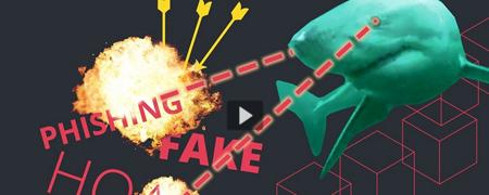 Das Titelbild des Tutorials: eine Illustration eines Hais, der durch angedeutete Strahlen aus den Augen die Begriffe Phishing und Fake zerstört.  - Link auf: Tutorial: Fake News im Netz erkennen
