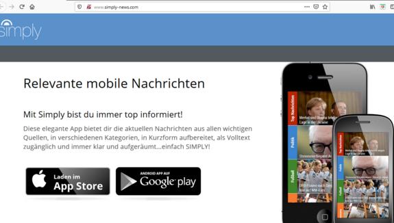 Der Screenshot zeigt die Startseite von simply news mit der Möglichkeit, die Nachrichten-App zu abbonieren.
