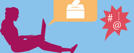 Grafik Online-Beteiligung mit sitzender Person und Wahlurne   - Link auf: Online-Beteiligung
