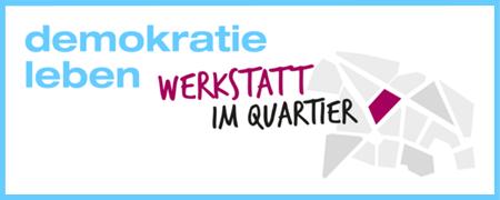 """Logo """"Werkstatt im Quartier""""  - Link auf: Demokratiewerkstätten im Quartier"""