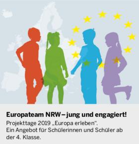 Logo Europateam: Piktorgramm mit bunten Silhouetten von Menschen und informationstext zur Veranstaltung.