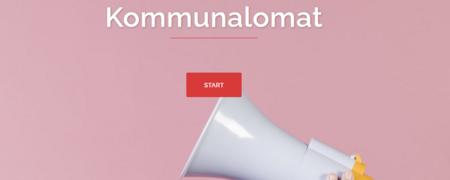"""Bild: Weißes Megafon auf dem rosa Hintergrund, darüber die Wörte """"Start"""" und """"Komumnalomat""""  - Link auf: Online-Wahlhilfen"""