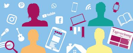Das Bild zeigt die Grafiken von vier Menschen, die das Internet und die sozialen Medien sehr unterschiedlich nutzen, um sich über das aktuelle Geschehen zu informieren.  - Link auf: Typsache: Kennen Sie Ihr Medienverhalten?