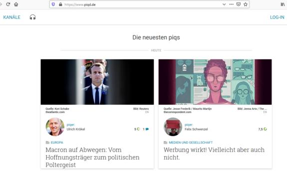 Der Screenshot zeigt einen Ausschnitt des Anbieters Piqd mit einer Übersicht der Nachrichten, die der Anbieter an diesem Tag zusammengetragen hat.
