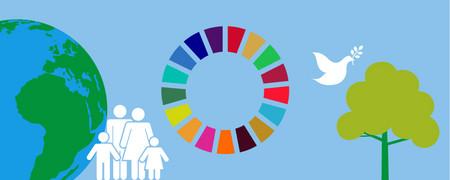 """Symbole: Mittig ein Kreis aus unterschiedlichen Farben. Rundherum eine Erdkugel, eine Familie, eine Friedenstaube, ein Baum  - Link auf: Was heißt """"nachhaltig"""" – und was geht mich das an?"""