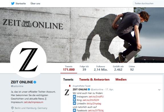 Der Screenshot zeigt einen  Ausschnitt aus dem Twitteraccount der ZEIT.