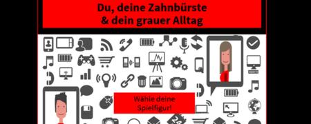 Illustration von zwei lächelnden Gesichtern in zwei Tablet-PCs  - Link auf: Big Data