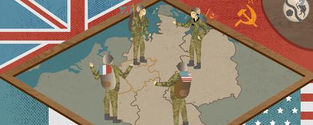 Collagenzeichnung aus Flaggen der Alliierten und Soldaten.  - Link auf: Botschaften