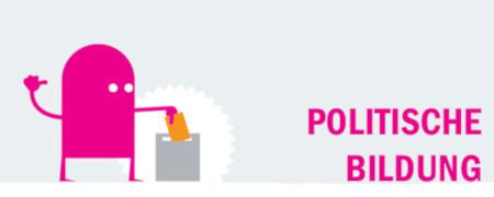 """Piktogramm und Aufschrift """"Politische Bildung""""  - Link auf: Einfach & kompliziert"""