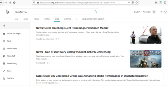 Der Screenshot zeigt die Übersichtsseite von Bing News, wo aktuelle Nachrichten aus unterschiedlichen Quellen angezeigt werden.