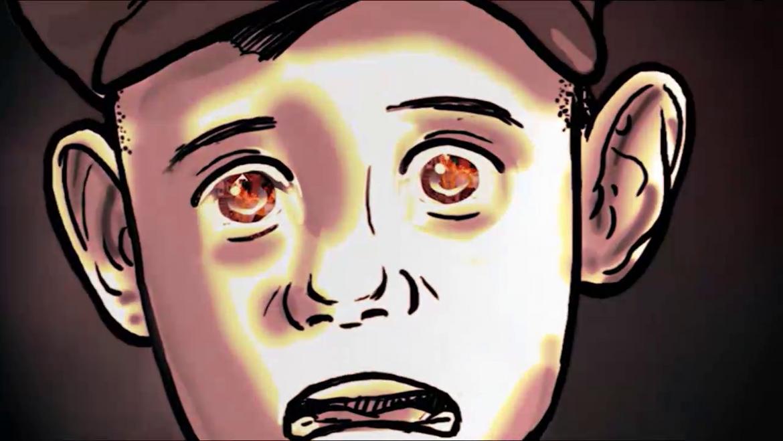 Illustration eines verängstigten Jungen