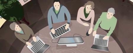 Zeichnung von vier Menschen an PCs.  - Link auf: Multimedia
