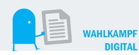 """Piktogramm und Aufschrift """"Wahlkampf Digital""""  - Link auf: Wahlkampf digital"""