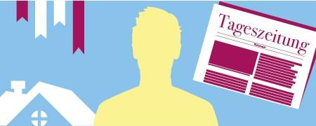 Grafische Darstellung einer Person mit Symbolen für ein Haus, Browser-Bookmarks und eine Tageszeitung  - Link auf: Thomas: Der Familienorientierte