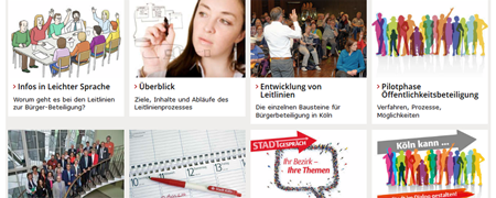 """Ausschnitt aus der Projektseite """"Leitlinienprozess Bürgerbeteiligung""""  - Link auf: Leitlinienprozess zur Bürgerbeteiligung (Köln)"""