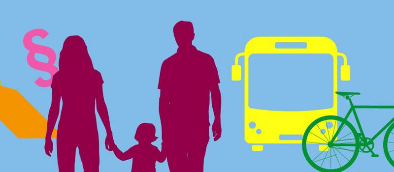 Grafik: ein Paragraphen-Zeichen, eine Familie, ein Bus, ein Fahrrad